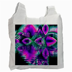 Teal Violet Crystal Palace, Abstract Cosmic Heart White Reusable Bag (Two Sides)