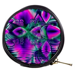Teal Violet Crystal Palace, Abstract Cosmic Heart Mini Makeup Case