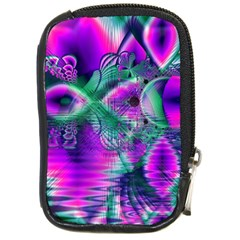 Teal Violet Crystal Palace, Abstract Cosmic Heart Compact Camera Leather Case