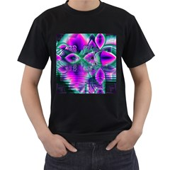 Teal Violet Crystal Palace, Abstract Cosmic Heart Men s T Shirt (black)