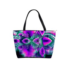 Teal Violet Crystal Palace, Abstract Cosmic Heart Large Shoulder Bag