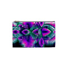 Teal Violet Crystal Palace, Abstract Cosmic Heart Cosmetic Bag (Small)