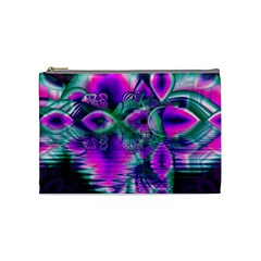 Teal Violet Crystal Palace, Abstract Cosmic Heart Cosmetic Bag (medium)