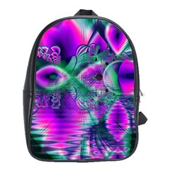 Teal Violet Crystal Palace, Abstract Cosmic Heart School Bag (Large)