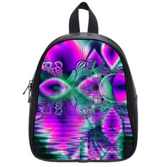 Teal Violet Crystal Palace, Abstract Cosmic Heart School Bag (Small)