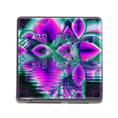 Teal Violet Crystal Palace, Abstract Cosmic Heart Memory Card Reader with Storage (Square)