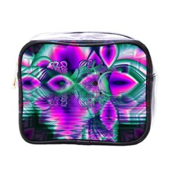 Teal Violet Crystal Palace, Abstract Cosmic Heart Mini Travel Toiletry Bag (one Side)