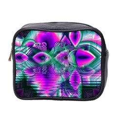 Teal Violet Crystal Palace, Abstract Cosmic Heart Mini Travel Toiletry Bag (two Sides)