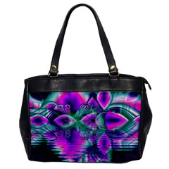 Teal Violet Crystal Palace, Abstract Cosmic Heart Oversize Office Handbag (One Side)