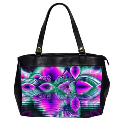 Teal Violet Crystal Palace, Abstract Cosmic Heart Oversize Office Handbag (two Sides)
