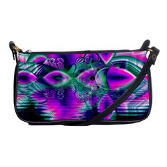 Teal Violet Crystal Palace, Abstract Cosmic Heart Evening Bag