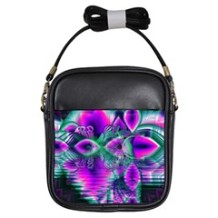 Teal Violet Crystal Palace, Abstract Cosmic Heart Girl s Sling Bag