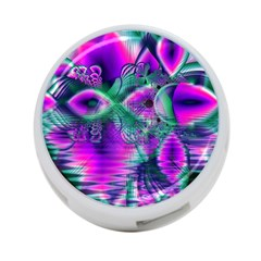 Teal Violet Crystal Palace, Abstract Cosmic Heart 4-Port USB Hub (Two Sides)