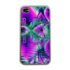 Teal Violet Crystal Palace, Abstract Cosmic Heart Apple iPhone 4 Case (Clear)
