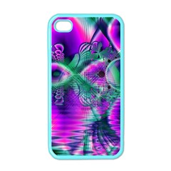 Teal Violet Crystal Palace, Abstract Cosmic Heart Apple iPhone 4 Case (Color)