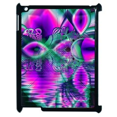 Teal Violet Crystal Palace, Abstract Cosmic Heart Apple iPad 2 Case (Black)