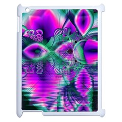 Teal Violet Crystal Palace, Abstract Cosmic Heart Apple iPad 2 Case (White)