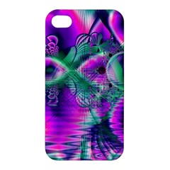 Teal Violet Crystal Palace, Abstract Cosmic Heart Apple iPhone 4/4S Hardshell Case
