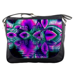 Teal Violet Crystal Palace, Abstract Cosmic Heart Messenger Bag