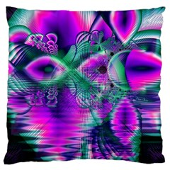 Teal Violet Crystal Palace, Abstract Cosmic Heart Large Cushion Case (Two Sided)