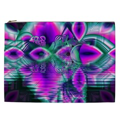 Teal Violet Crystal Palace, Abstract Cosmic Heart Cosmetic Bag (xxl)