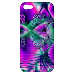 Teal Violet Crystal Palace, Abstract Cosmic Heart Apple Iphone 5 Hardshell Case