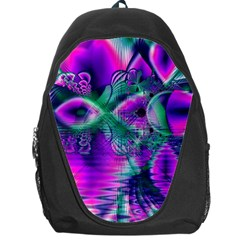 Teal Violet Crystal Palace, Abstract Cosmic Heart Backpack Bag