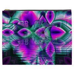 Teal Violet Crystal Palace, Abstract Cosmic Heart Cosmetic Bag (XXXL)