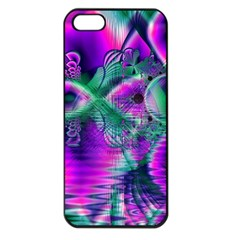 Teal Violet Crystal Palace, Abstract Cosmic Heart Apple iPhone 5 Seamless Case (Black)