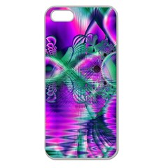 Teal Violet Crystal Palace, Abstract Cosmic Heart Apple Seamless Iphone 5 Case (clear)