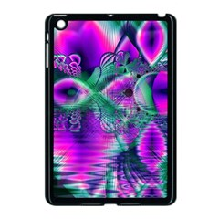 Teal Violet Crystal Palace, Abstract Cosmic Heart Apple Ipad Mini Case (black)