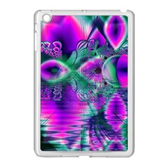 Teal Violet Crystal Palace, Abstract Cosmic Heart Apple iPad Mini Case (White)