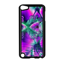 Teal Violet Crystal Palace, Abstract Cosmic Heart Apple iPod Touch 5 Case (Black)