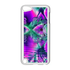Teal Violet Crystal Palace, Abstract Cosmic Heart Apple iPod Touch 5 Case (White)