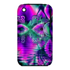 Teal Violet Crystal Palace, Abstract Cosmic Heart Apple iPhone 3G/3GS Hardshell Case (PC+Silicone)