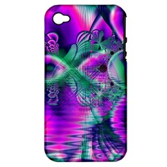 Teal Violet Crystal Palace, Abstract Cosmic Heart Apple iPhone 4/4S Hardshell Case (PC+Silicone)