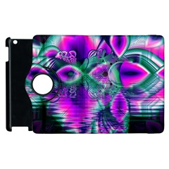 Teal Violet Crystal Palace, Abstract Cosmic Heart Apple iPad 2 Flip 360 Case