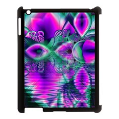 Teal Violet Crystal Palace, Abstract Cosmic Heart Apple iPad 3/4 Case (Black)