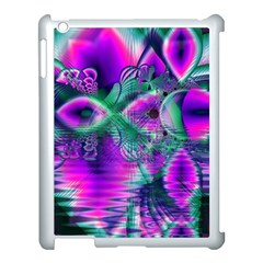 Teal Violet Crystal Palace, Abstract Cosmic Heart Apple iPad 3/4 Case (White)