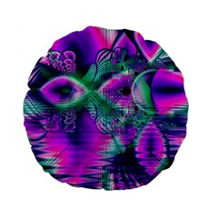 Teal Violet Crystal Palace, Abstract Cosmic Heart 15  Premium Round Cushion