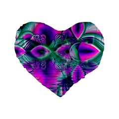 Teal Violet Crystal Palace, Abstract Cosmic Heart 16  Premium Heart Shape Cushion