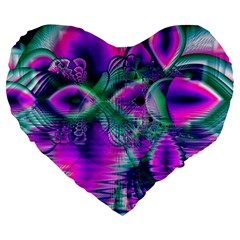 Teal Violet Crystal Palace, Abstract Cosmic Heart 19  Premium Heart Shape Cushion