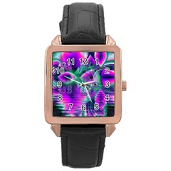 Teal Violet Crystal Palace, Abstract Cosmic Heart Rose Gold Leather Watch