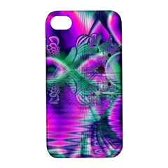 Teal Violet Crystal Palace, Abstract Cosmic Heart Apple iPhone 4/4S Hardshell Case with Stand