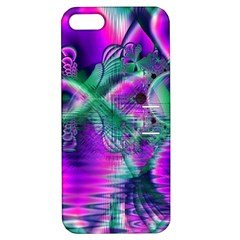 Teal Violet Crystal Palace, Abstract Cosmic Heart Apple Iphone 5 Hardshell Case With Stand