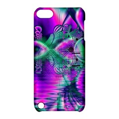 Teal Violet Crystal Palace, Abstract Cosmic Heart Apple iPod Touch 5 Hardshell Case with Stand