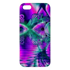 Teal Violet Crystal Palace, Abstract Cosmic Heart Apple iPhone 5 Premium Hardshell Case