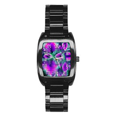 Teal Violet Crystal Palace, Abstract Cosmic Heart Stainless Steel Barrel Watch