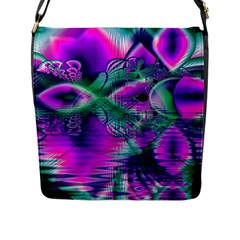 Teal Violet Crystal Palace, Abstract Cosmic Heart Flap Closure Messenger Bag (Large)