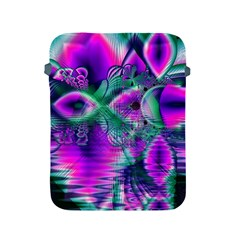 Teal Violet Crystal Palace, Abstract Cosmic Heart Apple iPad Protective Sleeve